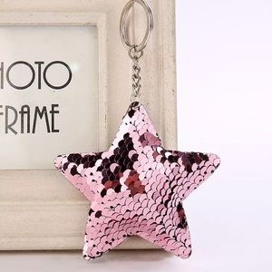Accessories - Pink mermaid star sequin purse charm keychain NEW
